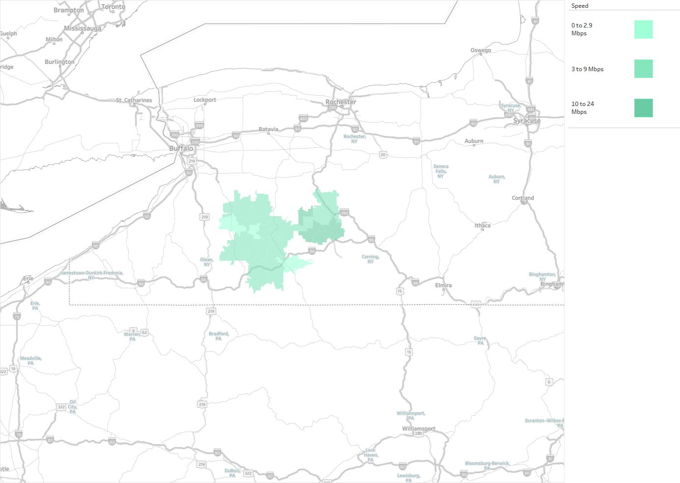 Southern Tier Wireless Availability Areas Coverage Map - Map of southern tier of us