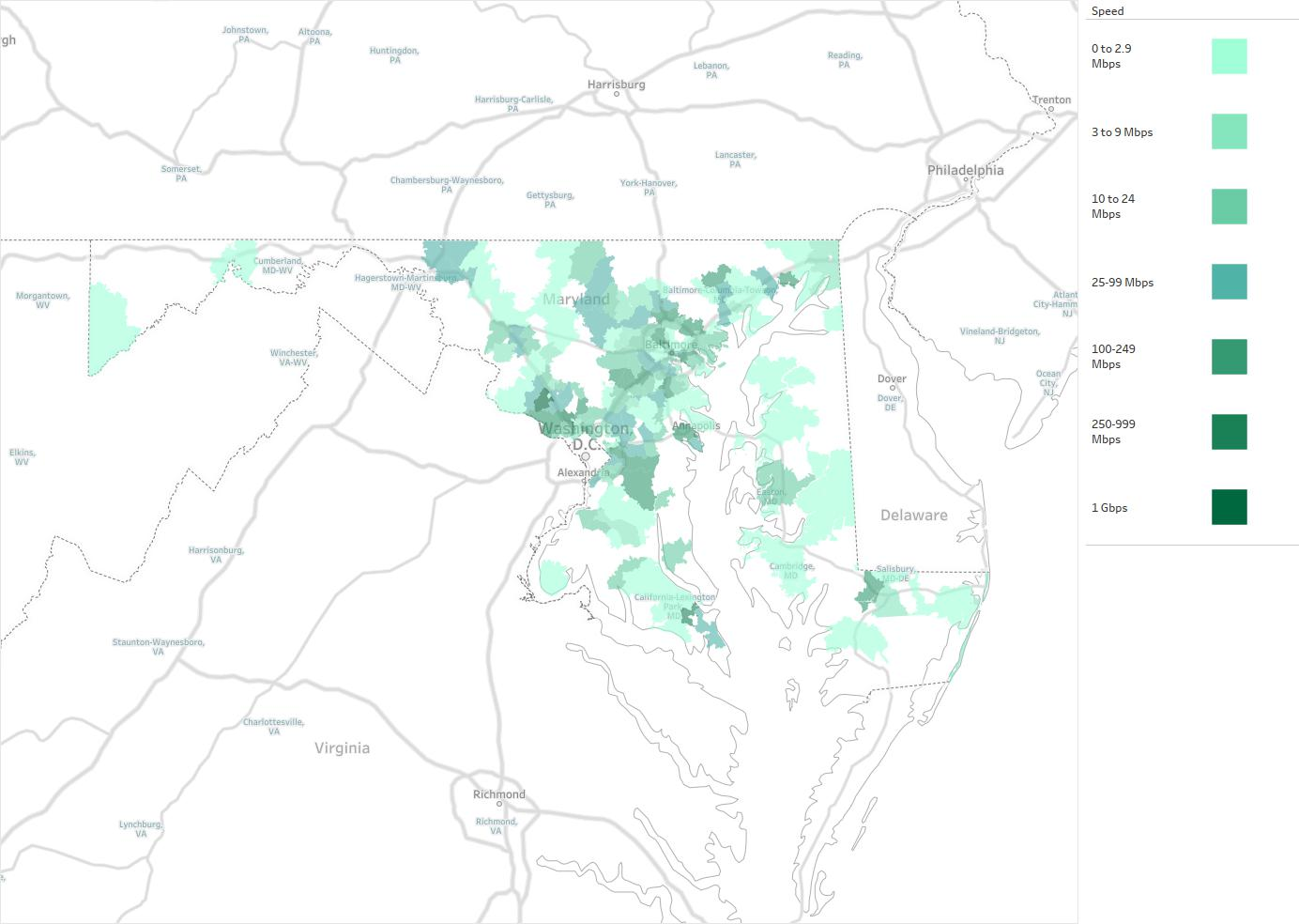 US LEC Of Maryland Availability Areas Coverage Map Decision Data - Maryland in us map