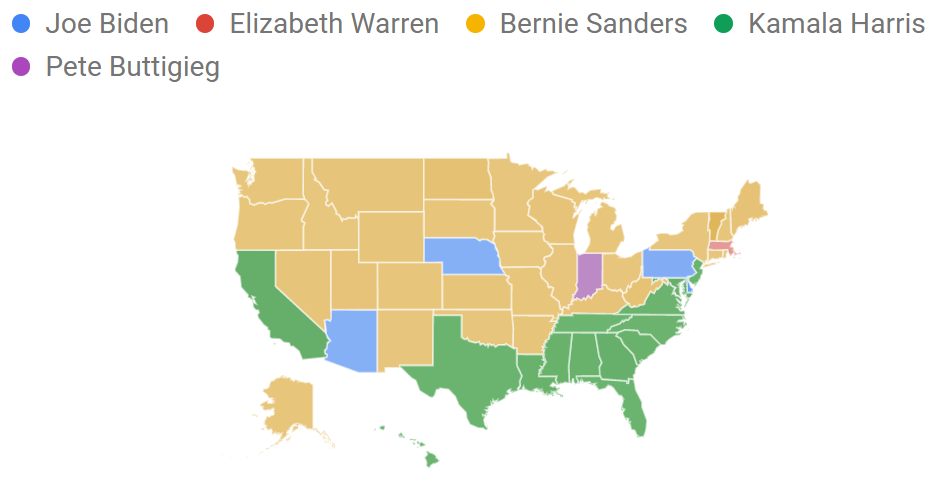 Which state Googled which 2020 candidate