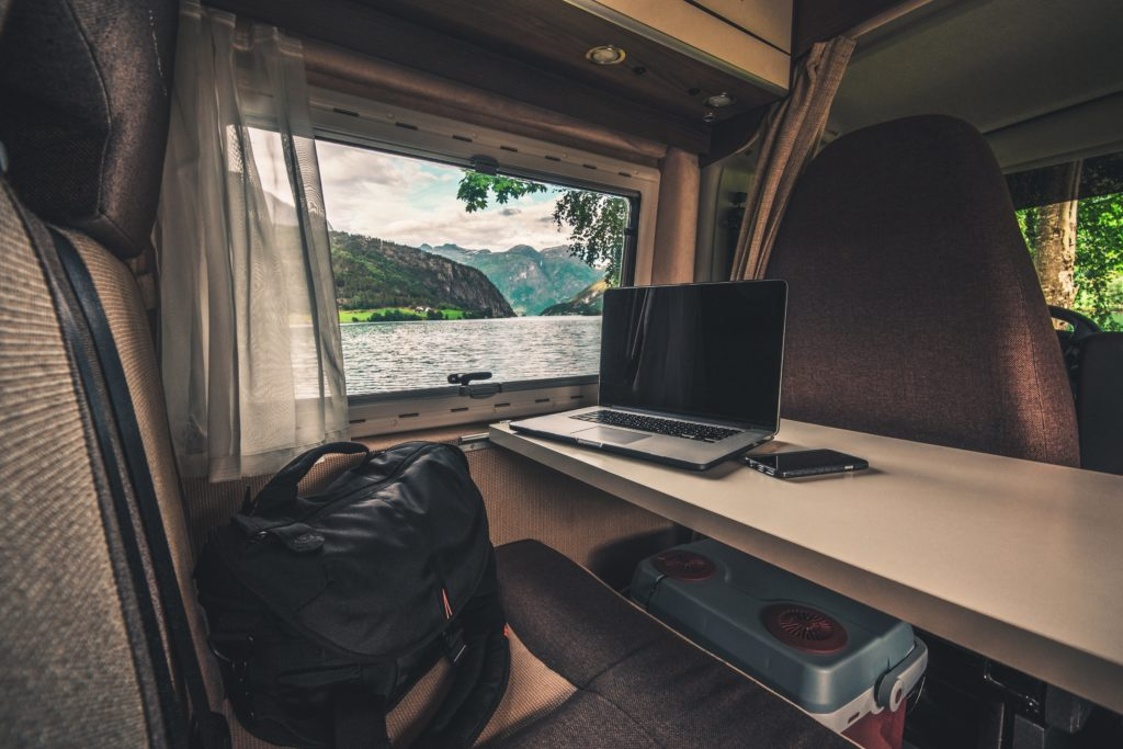 laptop inside of an RV connected to the best rv internet
